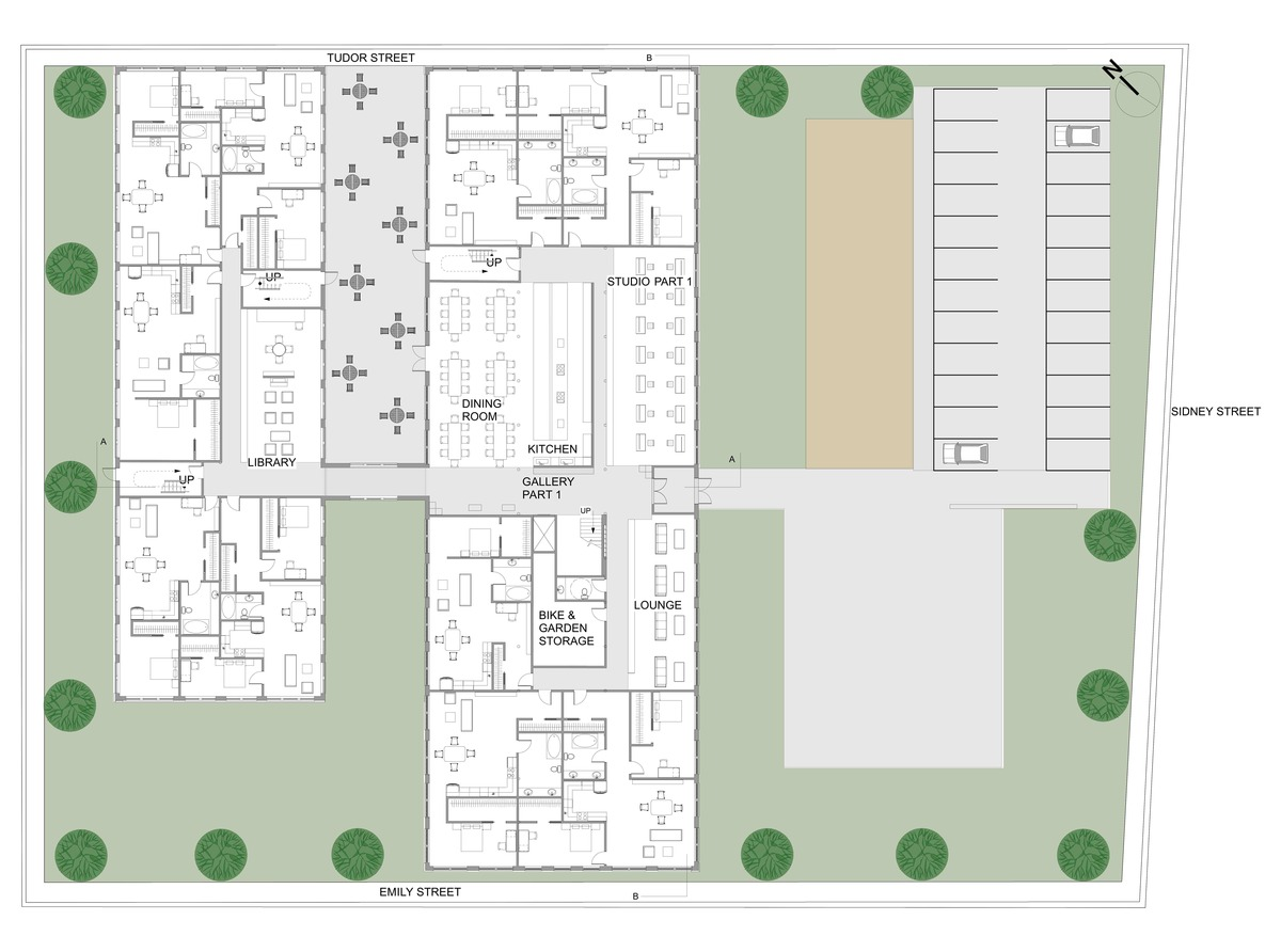 First Floor Plan with surrounding site conditions
