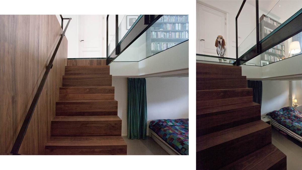 wooden cube/stairs with guest room – basement floor