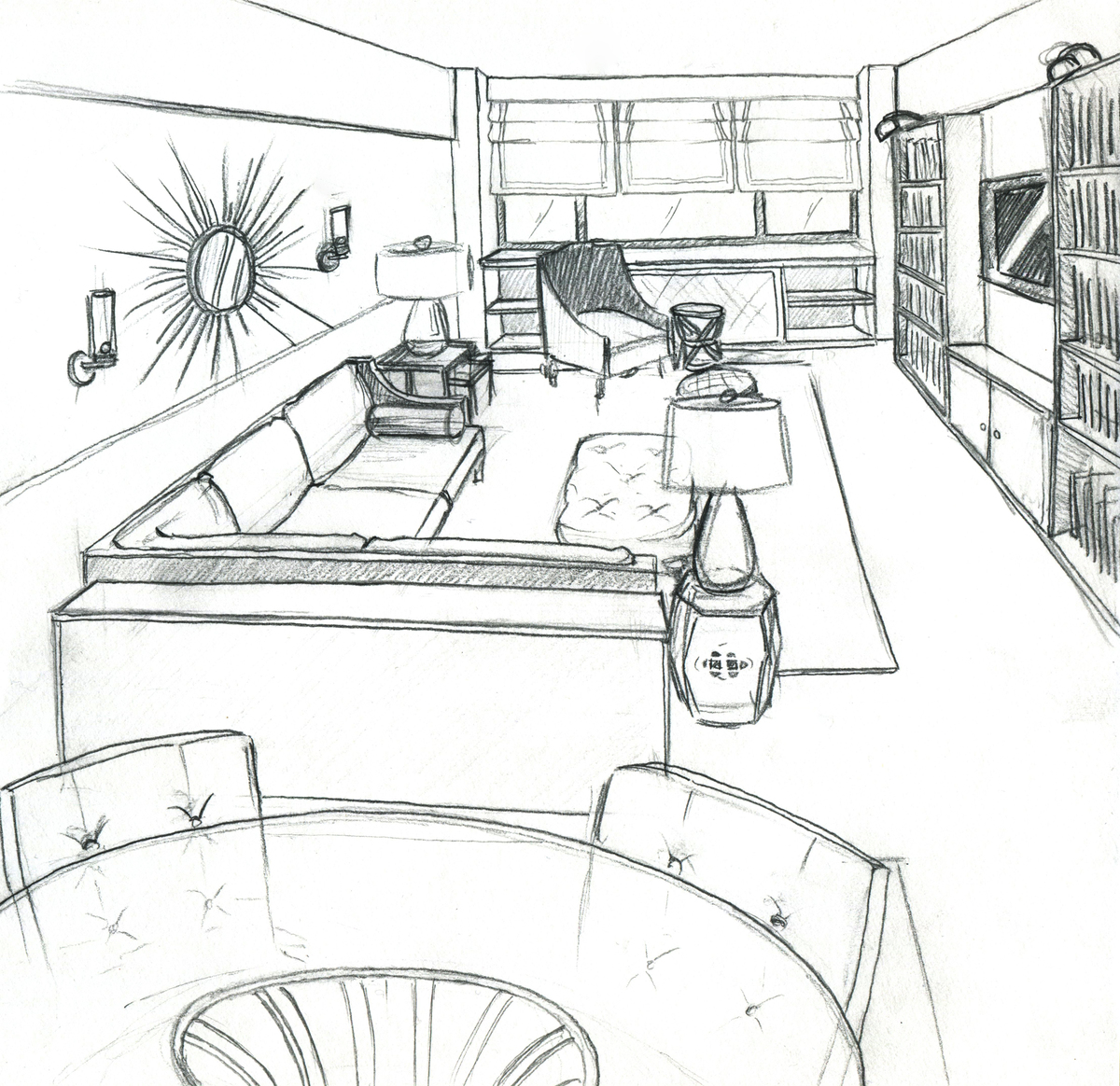 Upper east side living room zach mitchell archinect for Living room interior design sketch