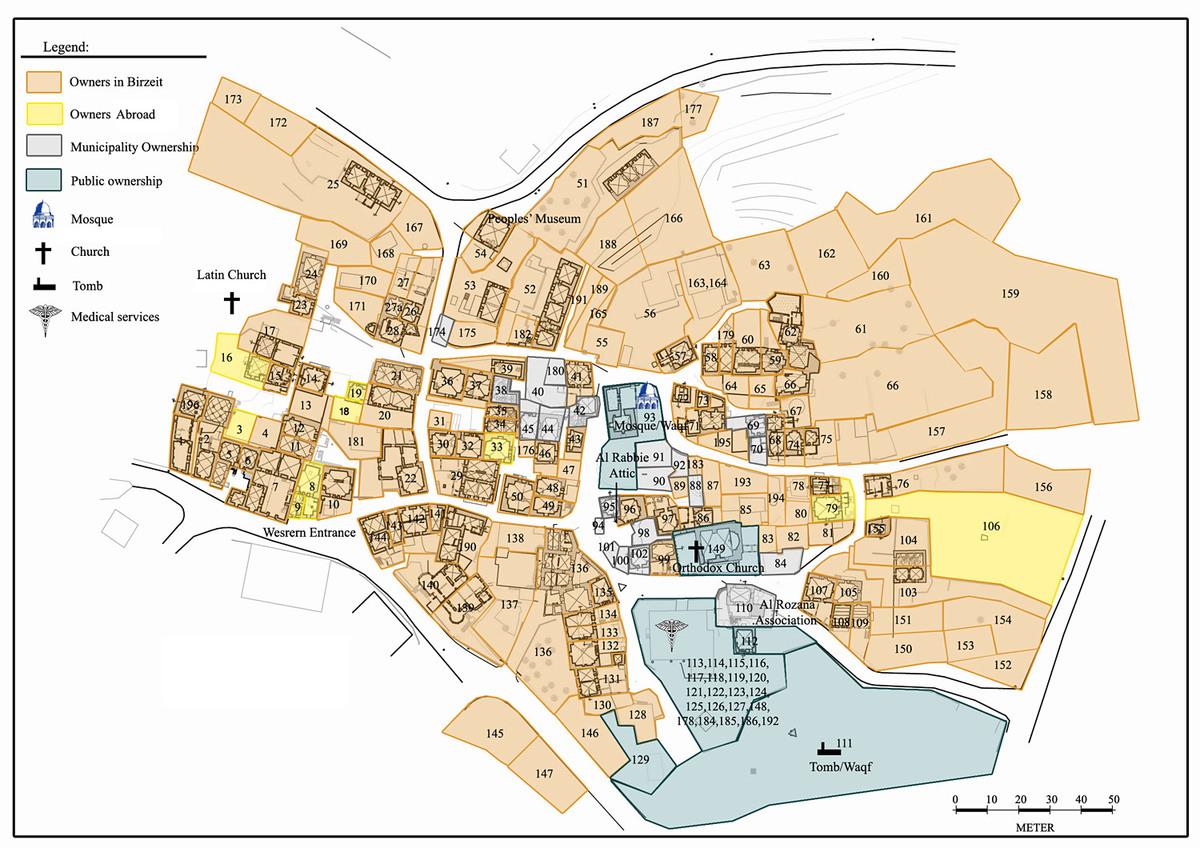 Revitalization of Birzeit Historic Center: Map of the Birzeit historic center. Photo: AKAA / RIWAQ