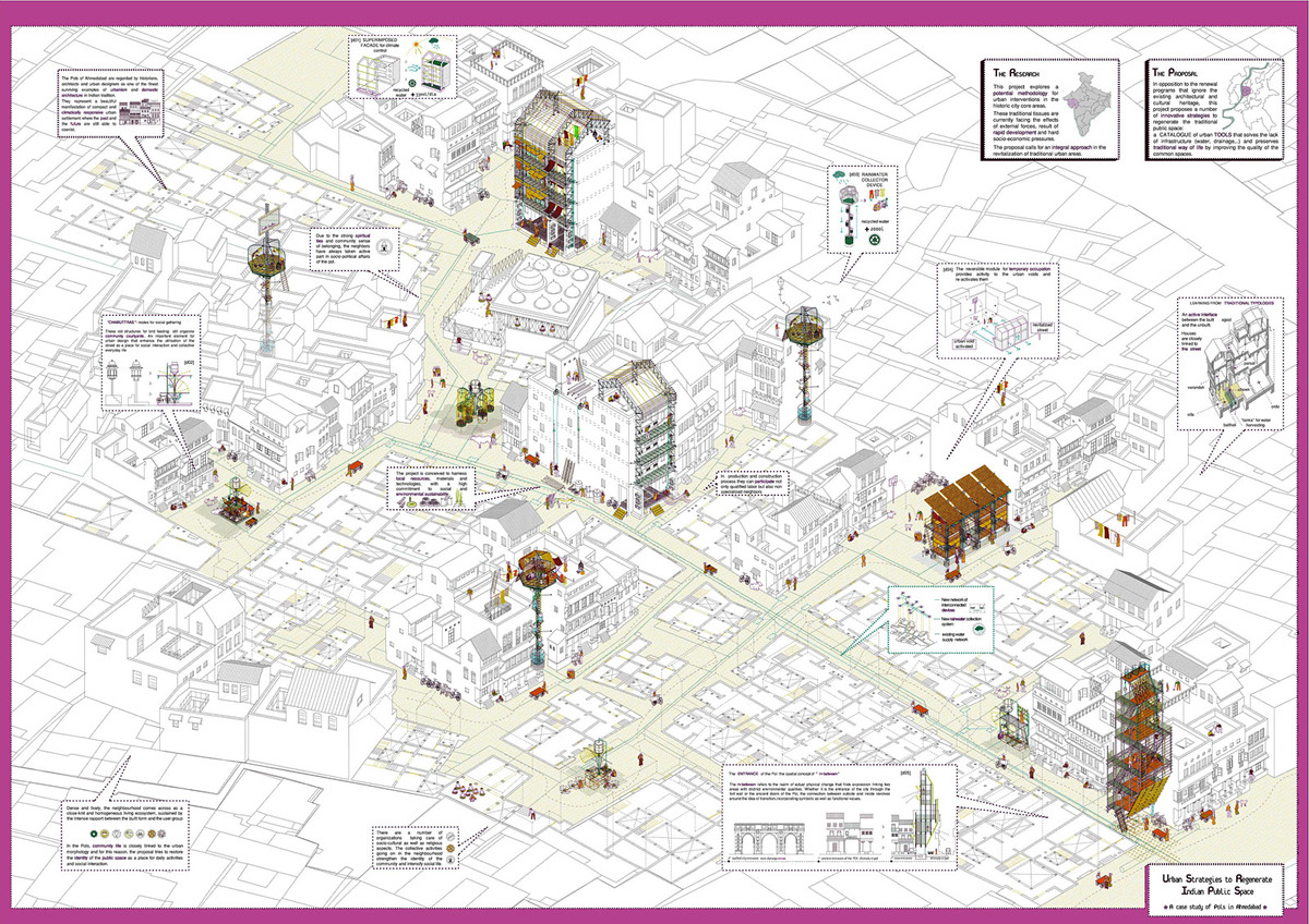 1st Prize: Urban Strategies to Regenerate Indian Public Space: A case study of Pols in Ahmedabad