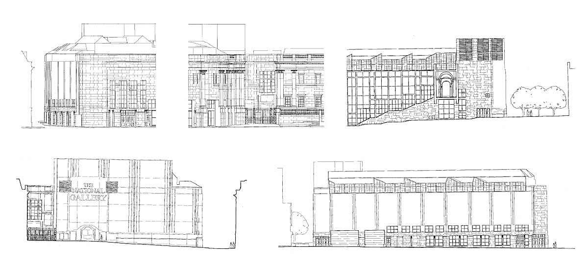 Figure 8 - Sainsbury Wing Elevations. Clockwise from top left: South, 'Diagonal', East, West, and North