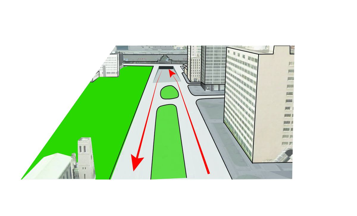 Existing traffic acts as a barrier between downtown and the waterfront plaza.
