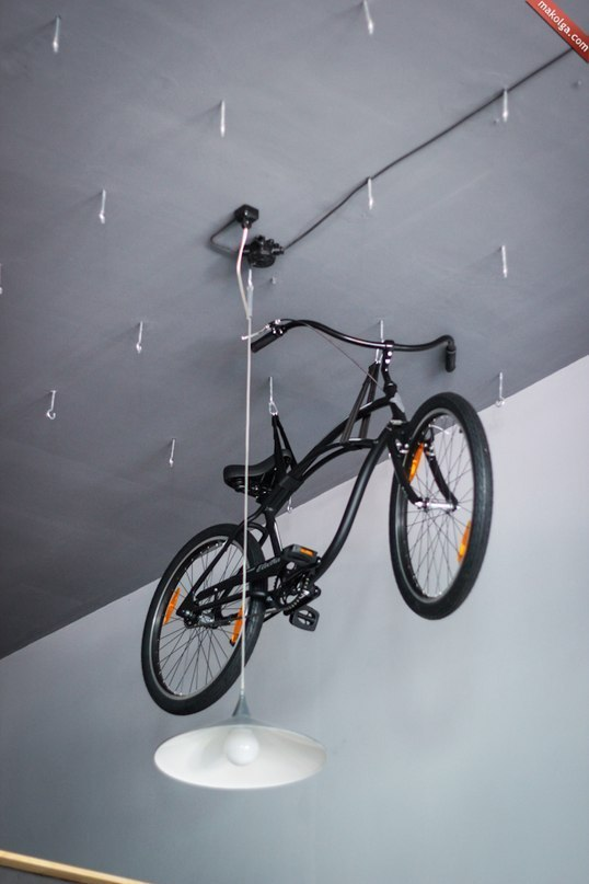 bicycles for rent in the ceiling
