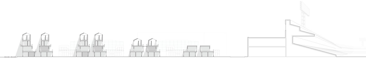 section showing the scale starting from the rail station [left] to fenway park [right]. terraced moments are used to introduced natural lighting into multiple levels of the community