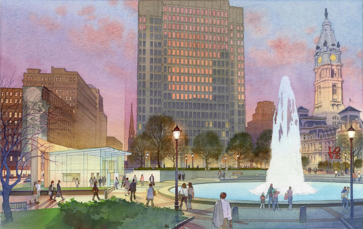 Love Park Elevator Headhouse. Rendering by Art and Design Studios