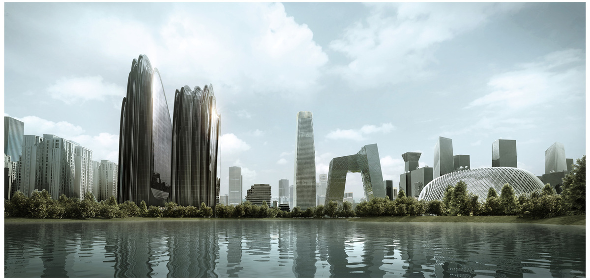 Chaoyang Park Plaza in city context, courtesy of MAD Architects.