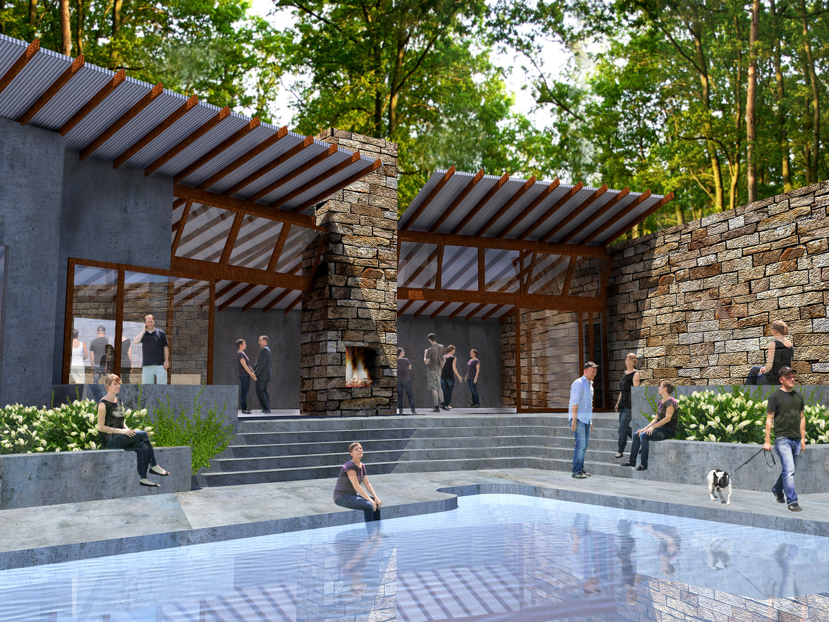 Pool area with public living spaces beyond
