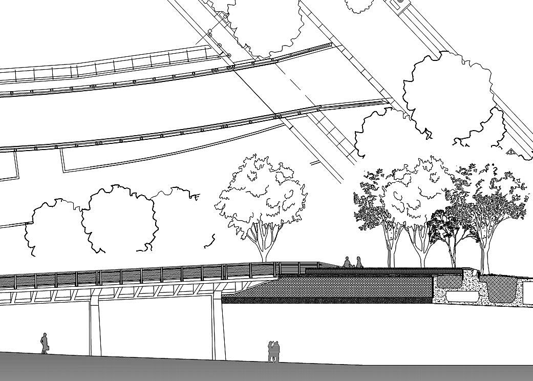 Plan / Elevation Hybrid Drawing of Bridge Termination