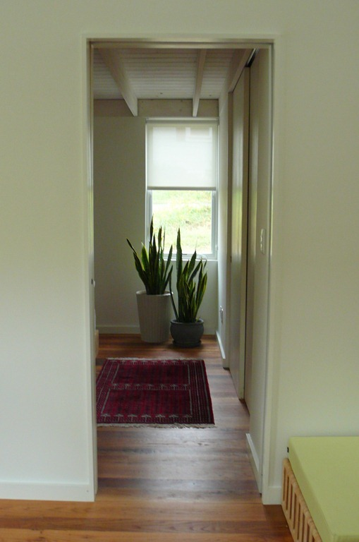 View from kitchen through bedroom window