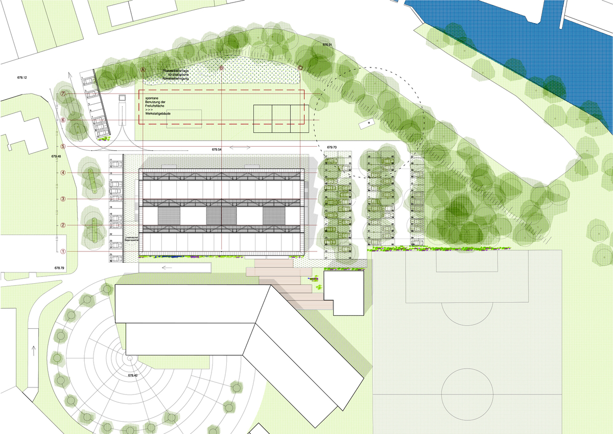 site plan. extension connected to the existing building