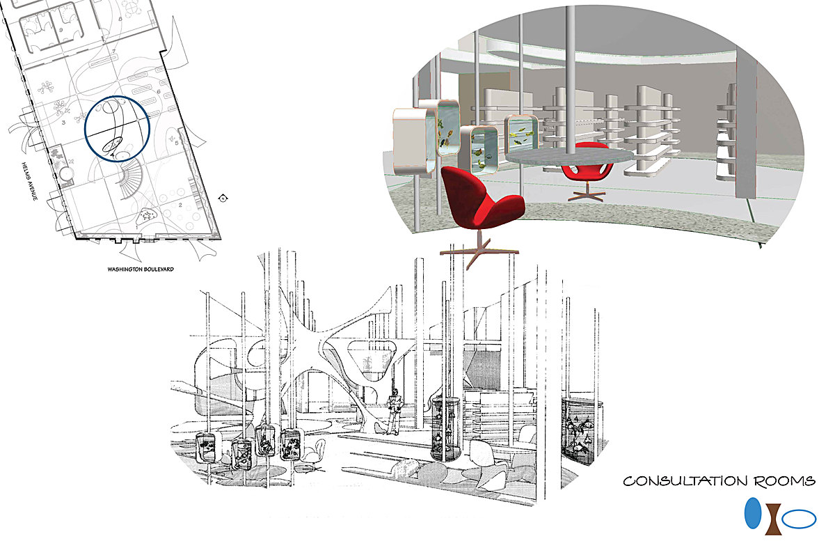 Rendering of Consultation Rooms Delineated by Customized Fish Tanks