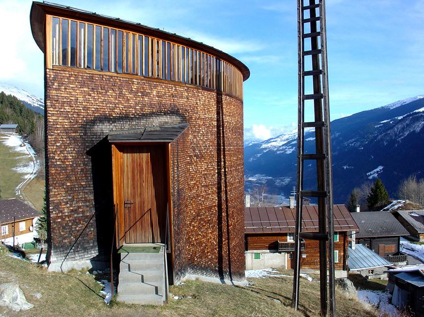 Saint Benedict Chapel, Sumvitg, Graubünden, Switzerland by Peter Zumthor (Photographer: jonathanvlarocca)