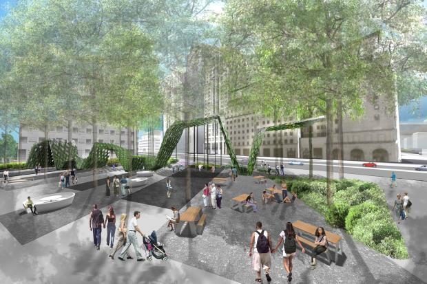 A section of the Brooklyn Strand, a Tech Triangle central commons intended to make better use of under-utilized spaces in the neighborhood.
