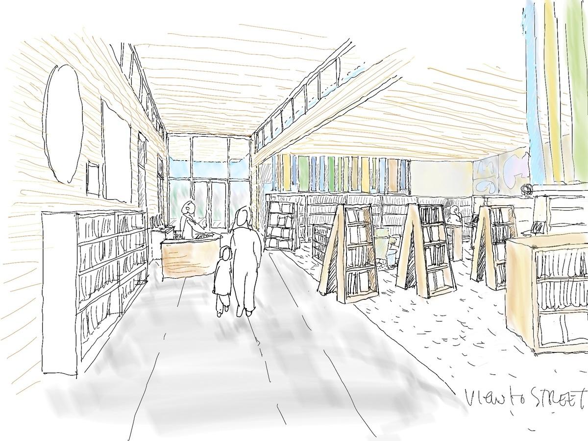 Interior sketch, view towards entry