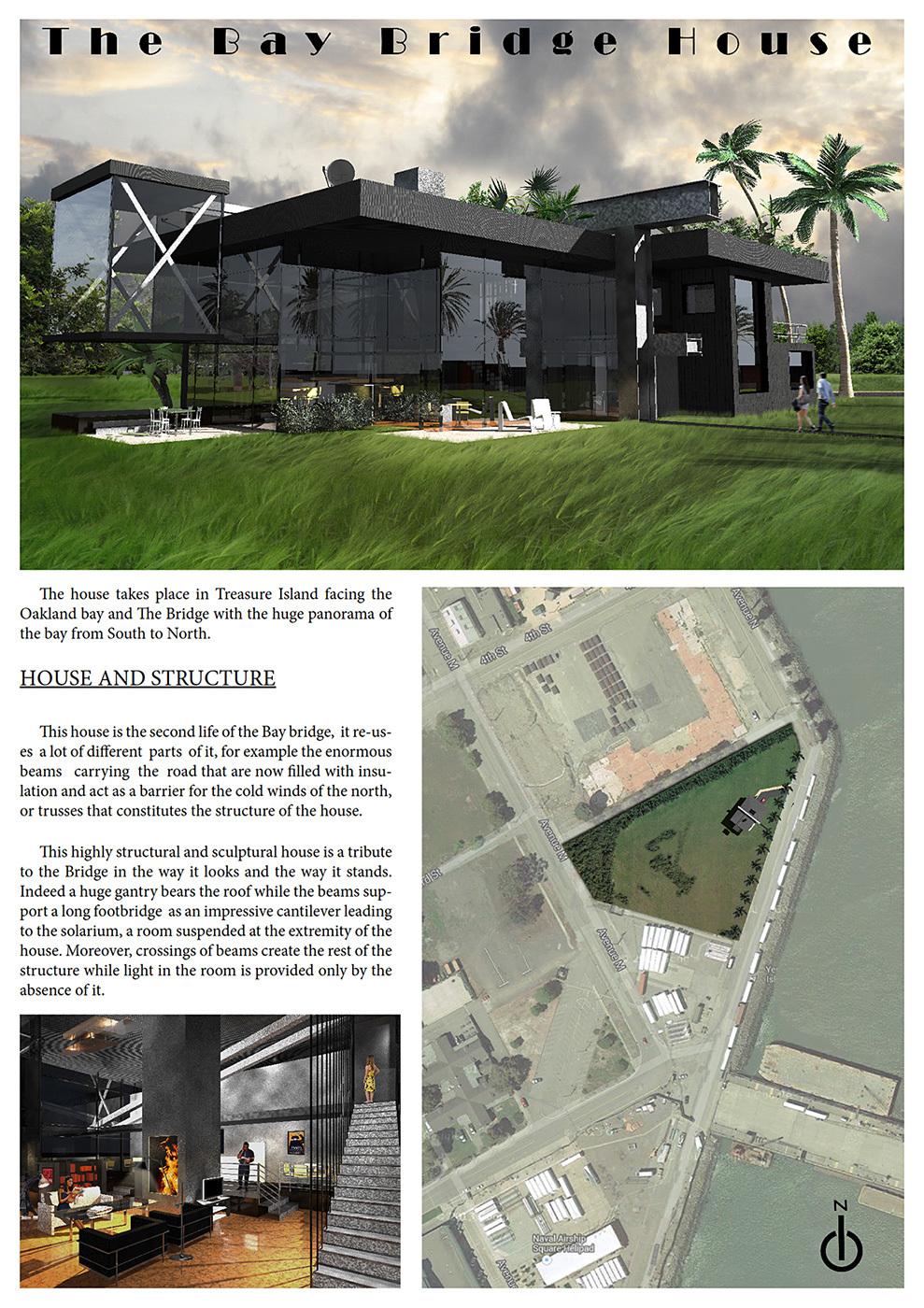 "Community Vote: The Bay Bridge House"" by Romain Caba (University of Kansas / National superior school of architecture of Paris Val de Seine, France). Image courtesy of Bay Bridge House."