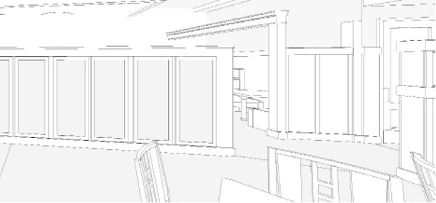 Interior shot from REVIT/BIM model for McCormick & Schmicks