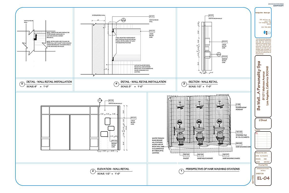 EL-04 Interior Elevations, Details + Perspective Dwg