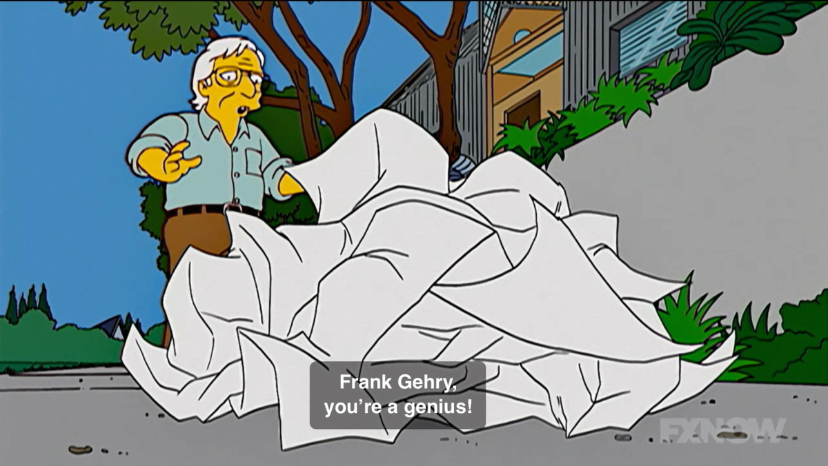Screenshot of Frank Gehry on The Simpsons.