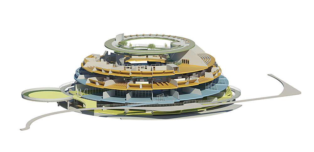 Campus International School proposal cutaway view with Elementary, Middle, High schools and Horticulture Sky Garden.
