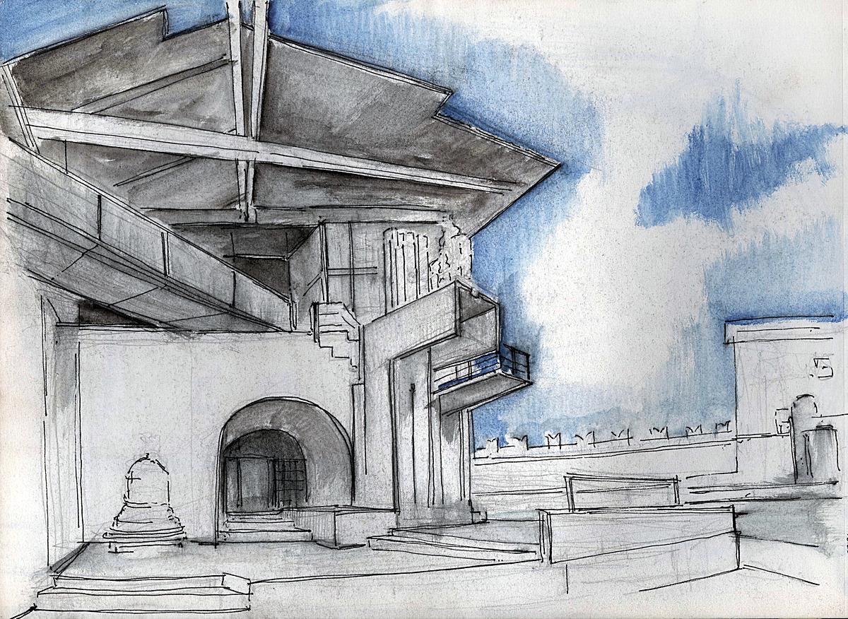 Castle Vecchio- Scarpa, Venice (water colour + ink)