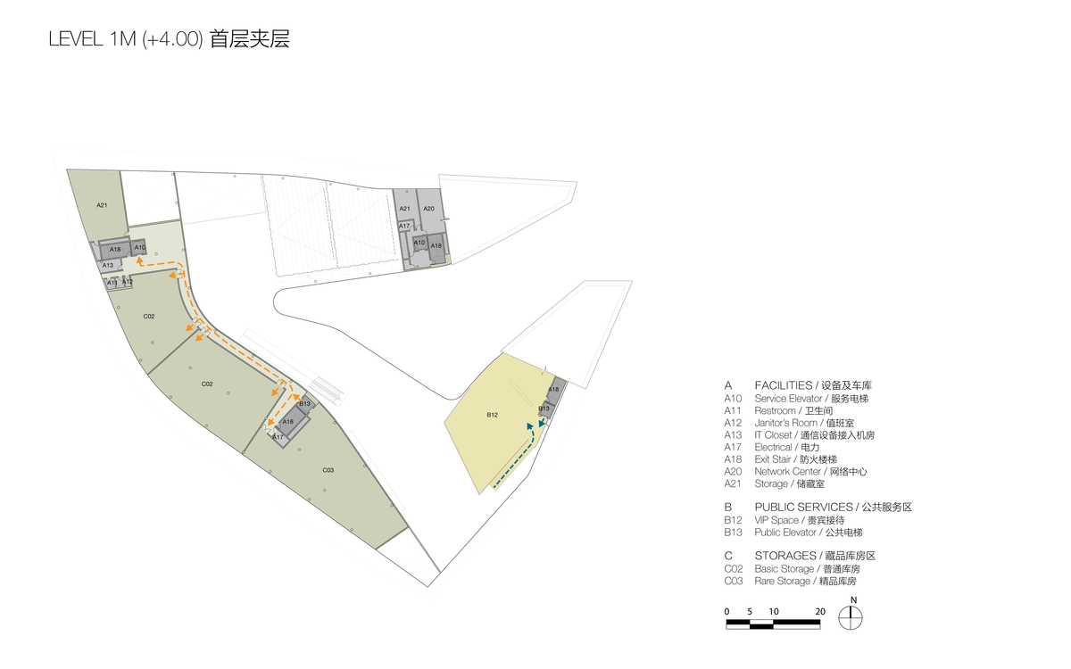Plan at Level 1M (© Studio Link-Arc)