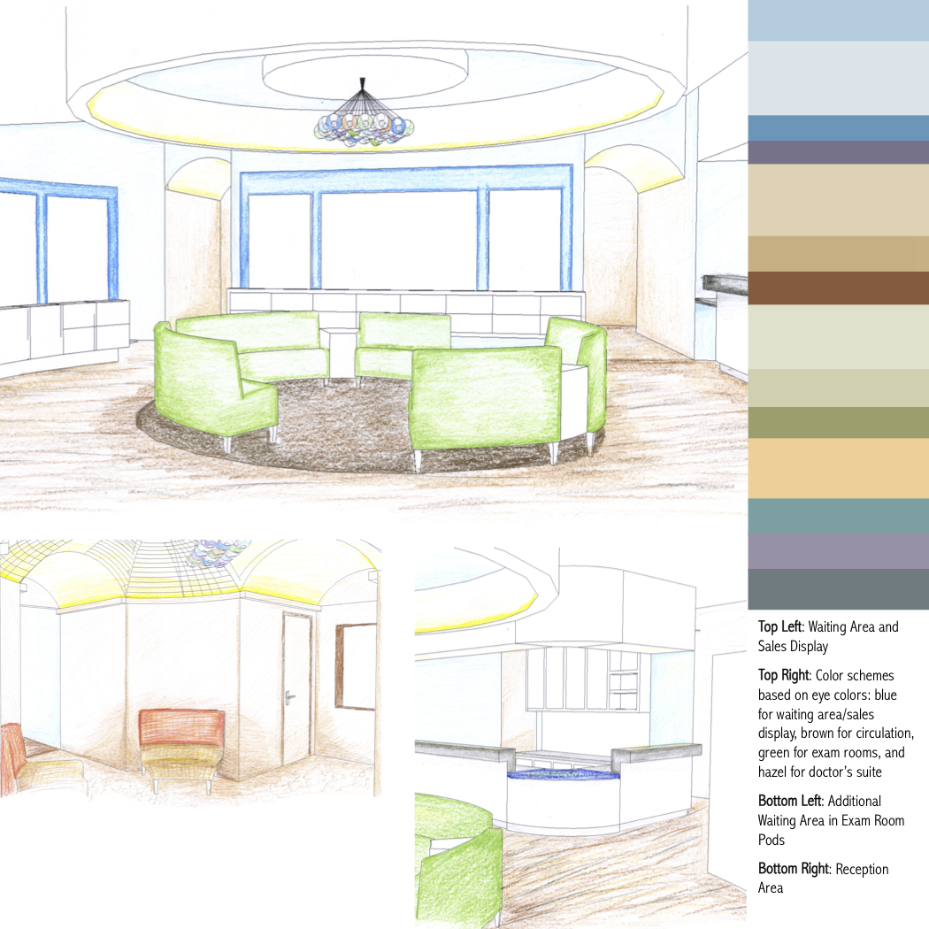 Interior perspectives of the optiques entry, reception, and secondary waiting area; color scheme based on eye colors