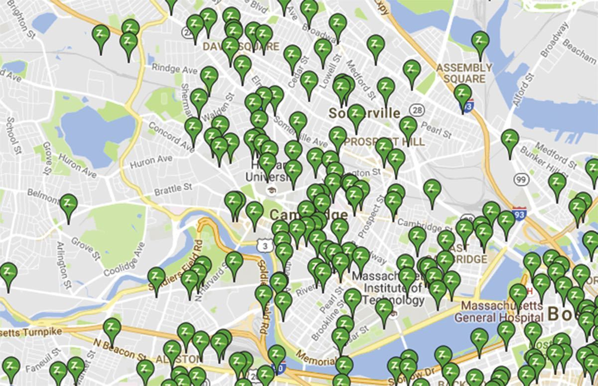 Zipcar locator map for the Cambridge, Massachusetts, area, 2016.