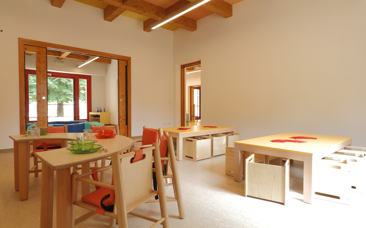 Timber costruction kindergarten in treviso italy anoja for Arredo asilo
