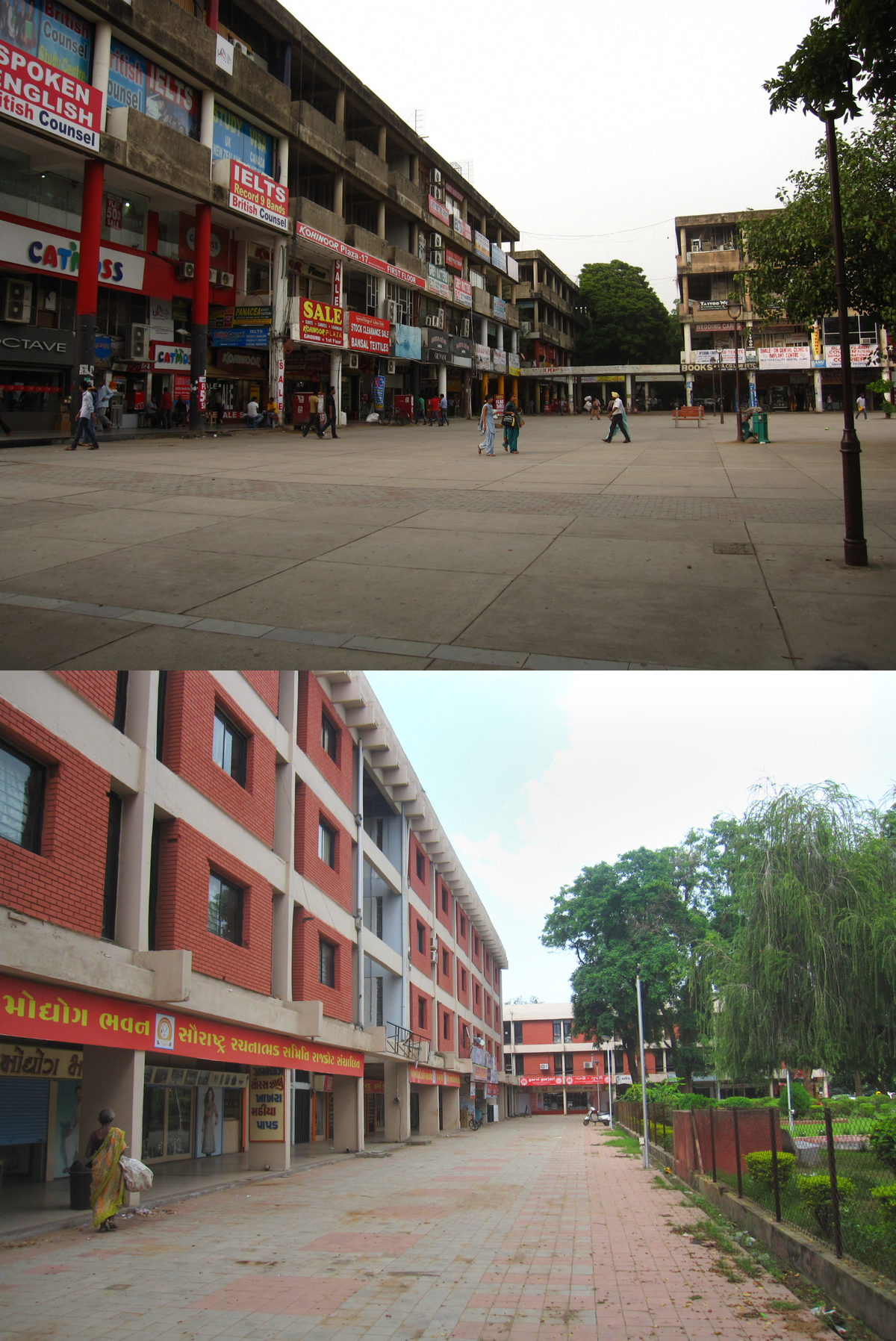 Top: Chandigarh shopping district Bottom: Gandhinagar shopping along the thoroughfare