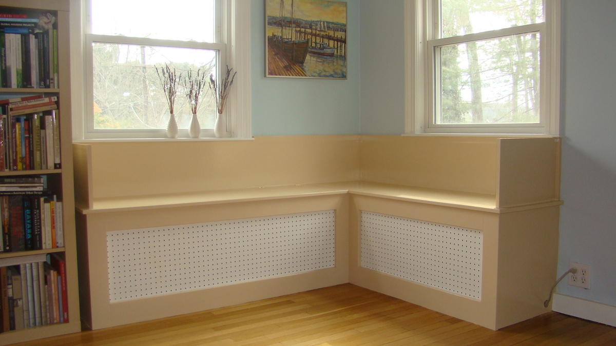 new built-in bench above operating cast iron radiators
