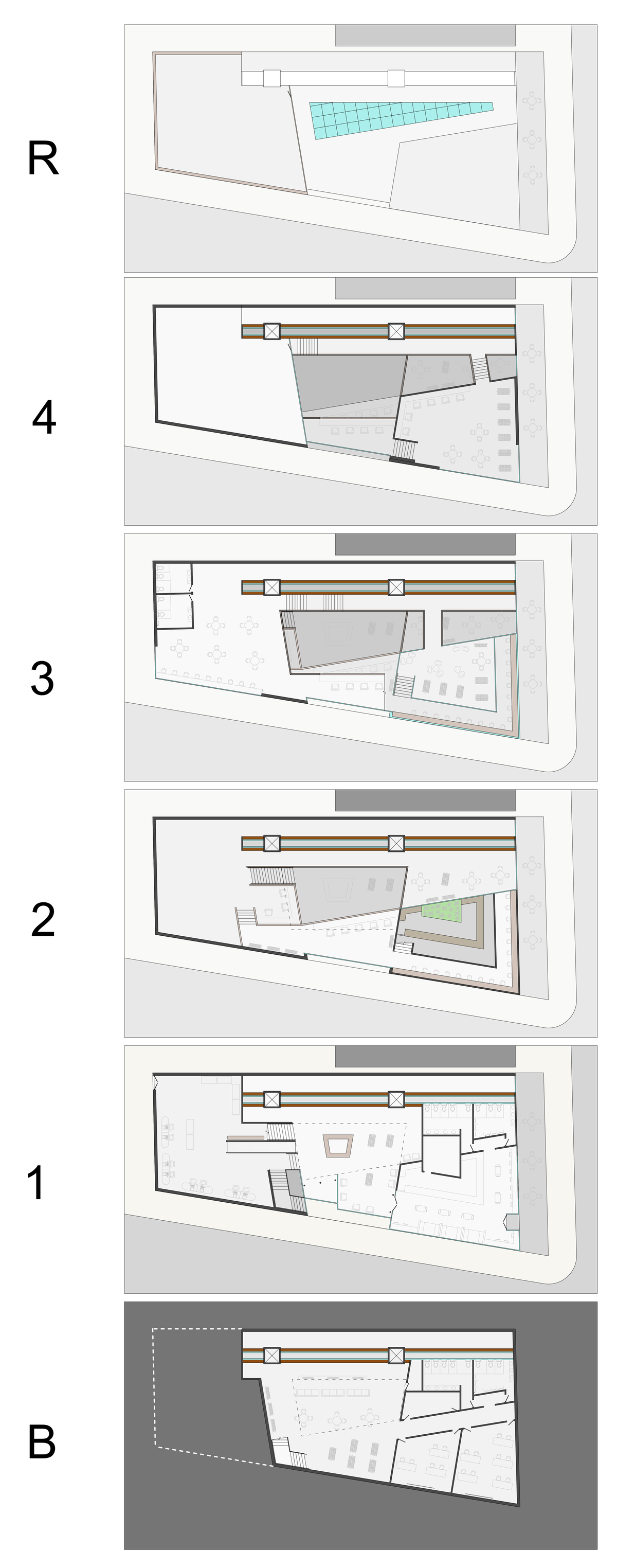 Floor plans of all six library levels.