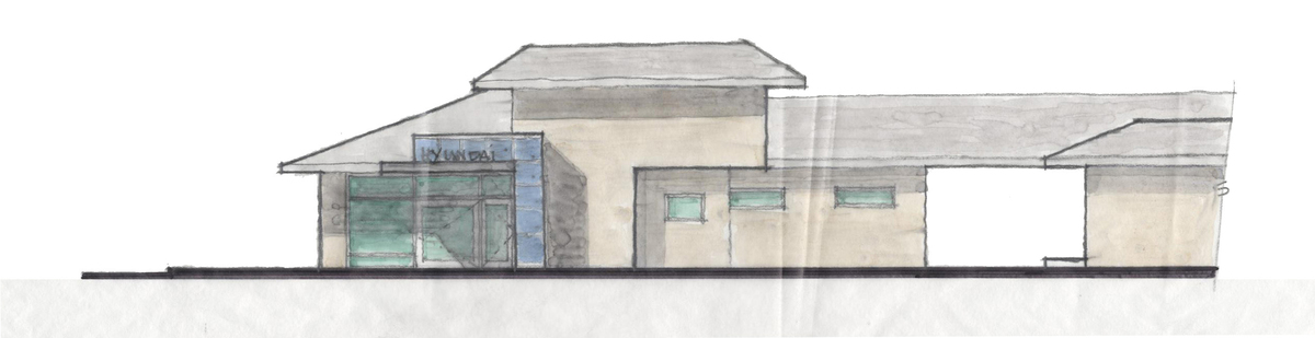 Hand Sketch of Proposed Entry Icon and North Building Elevation
