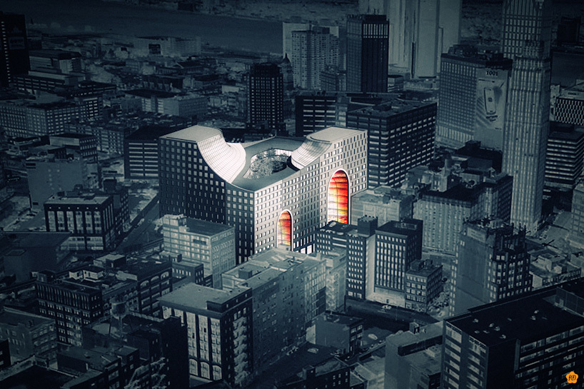 Rendering of The Grand Opening proposal for the Redesigning Detroit: A New Vision for an Iconic Site competition