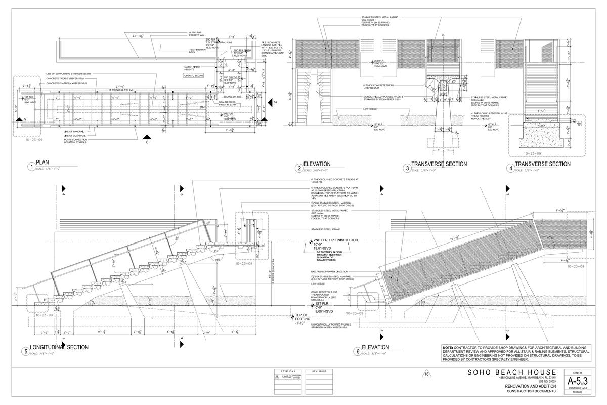 Exterior Stair - plans, elevations & sections