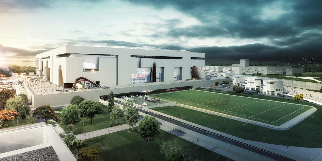 Exterior rendering (Image: Populous and Ateliers 2/3/4/)