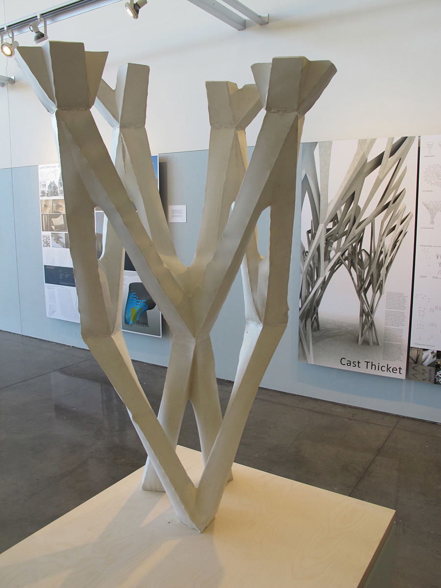 Prototype and boards of CAST THICKET exhibited at CCA / ACADIA conference