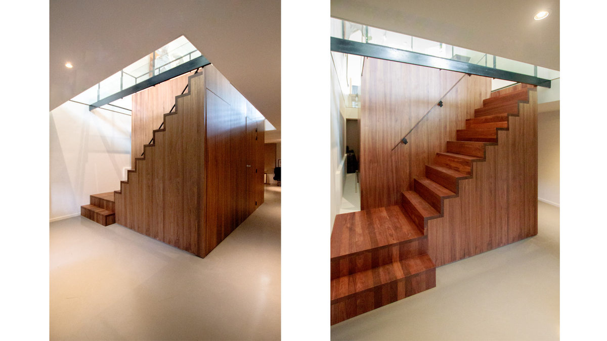 wooden cube/stairs with glass ceiling – basement floor