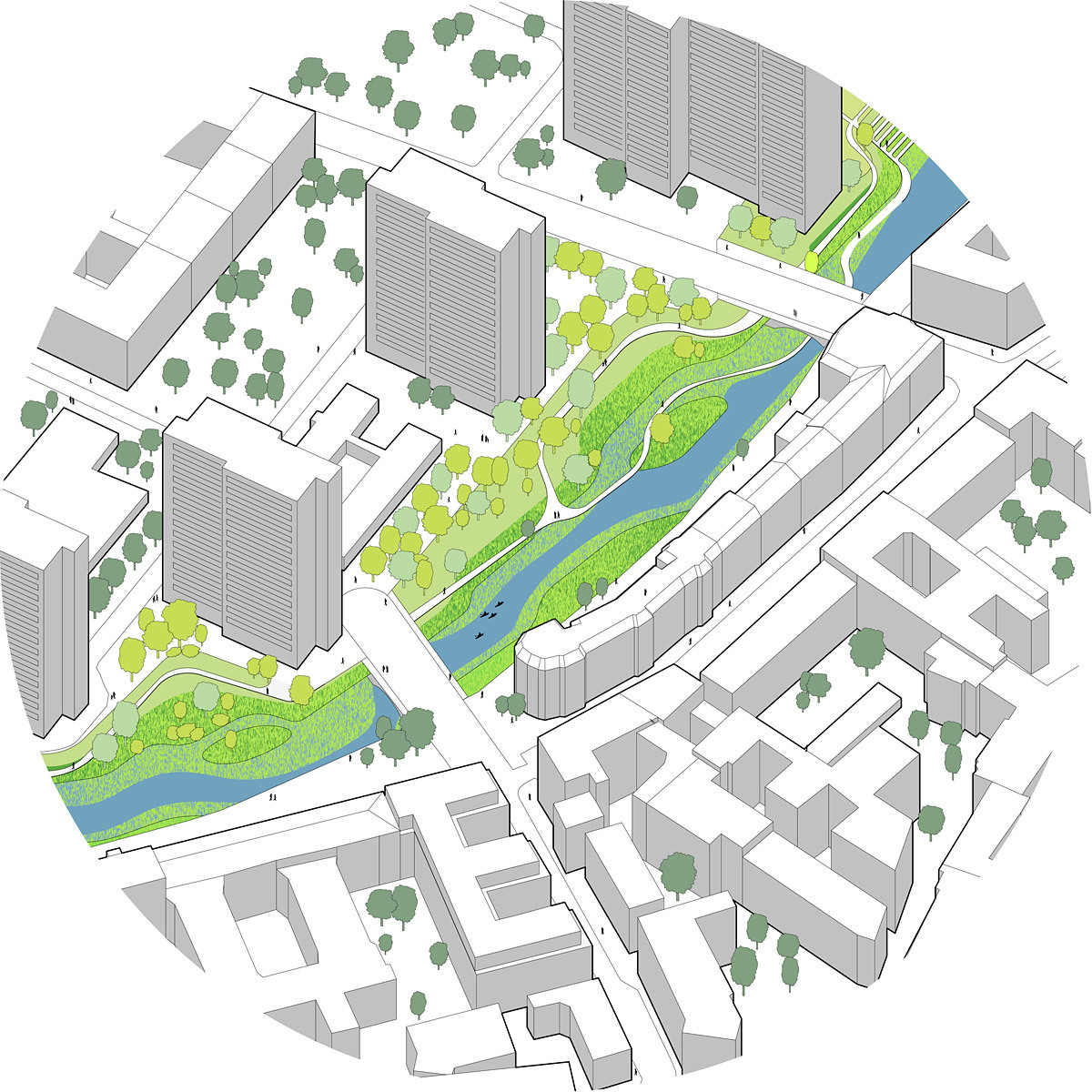 Global Holcim Awards Bronze 2012: Urban renewal and swimming-pool precinct, Berlin, Germany: Segment C: Isometric view of renaturized uppermost section of the river. (Image © Holcim Foundation)