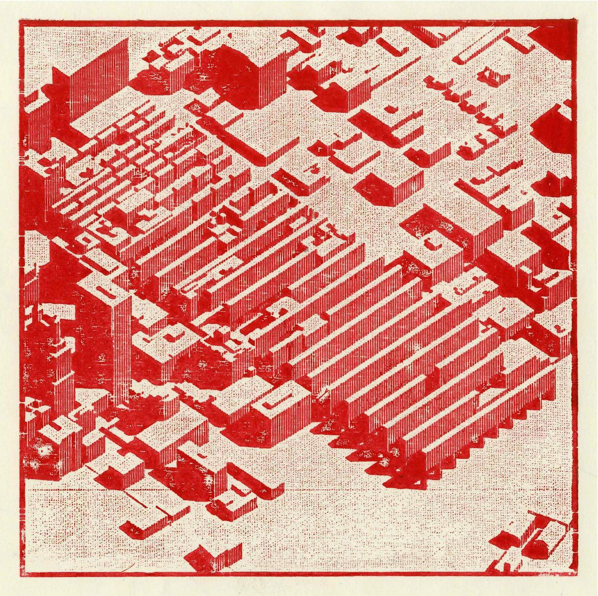 Axonometric of the Homestead territory within downtown Kansas City. Laser cut woodblock print. Image: Andrew Bruno