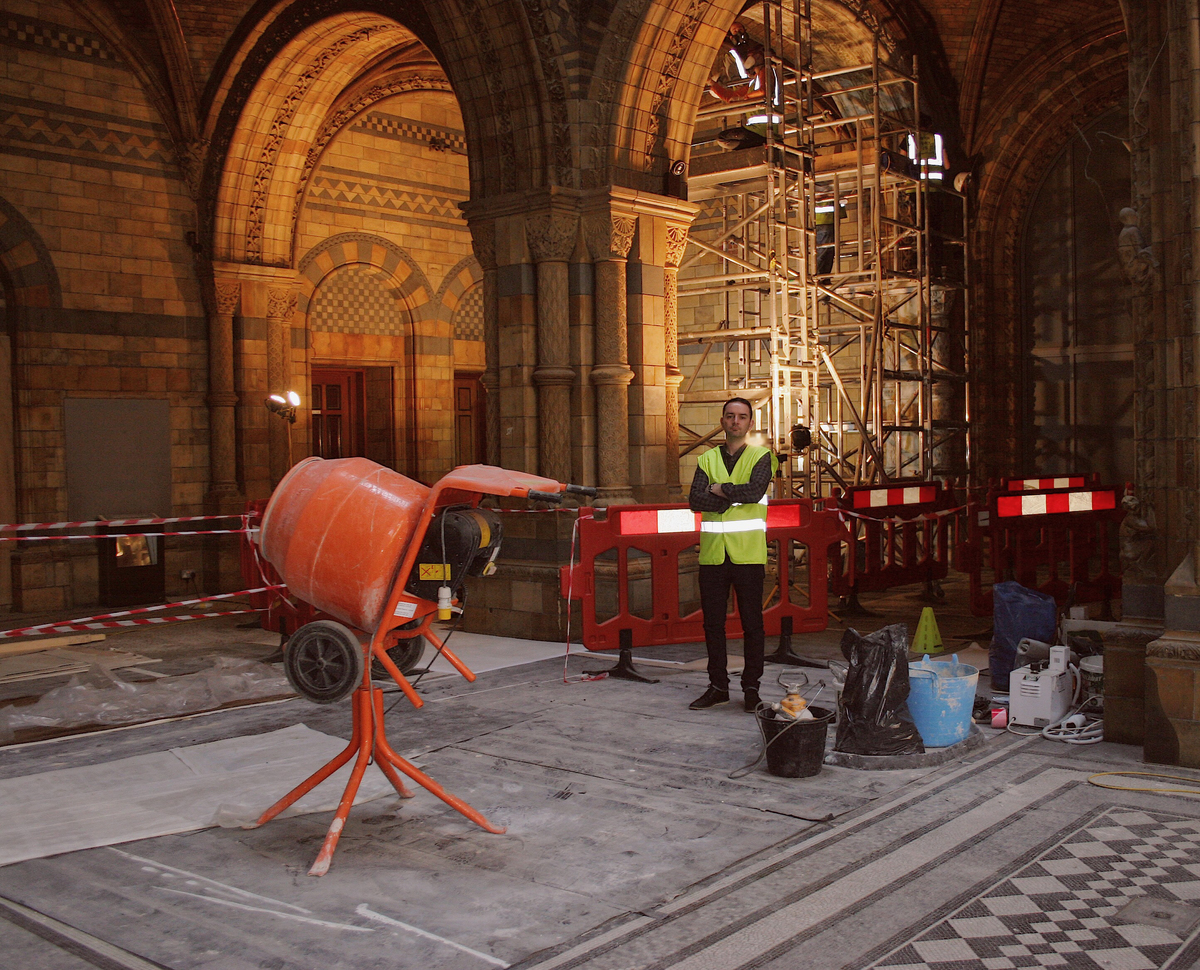 Paul Gallagher in the Hintze Hall, currently undergoing refurbishment