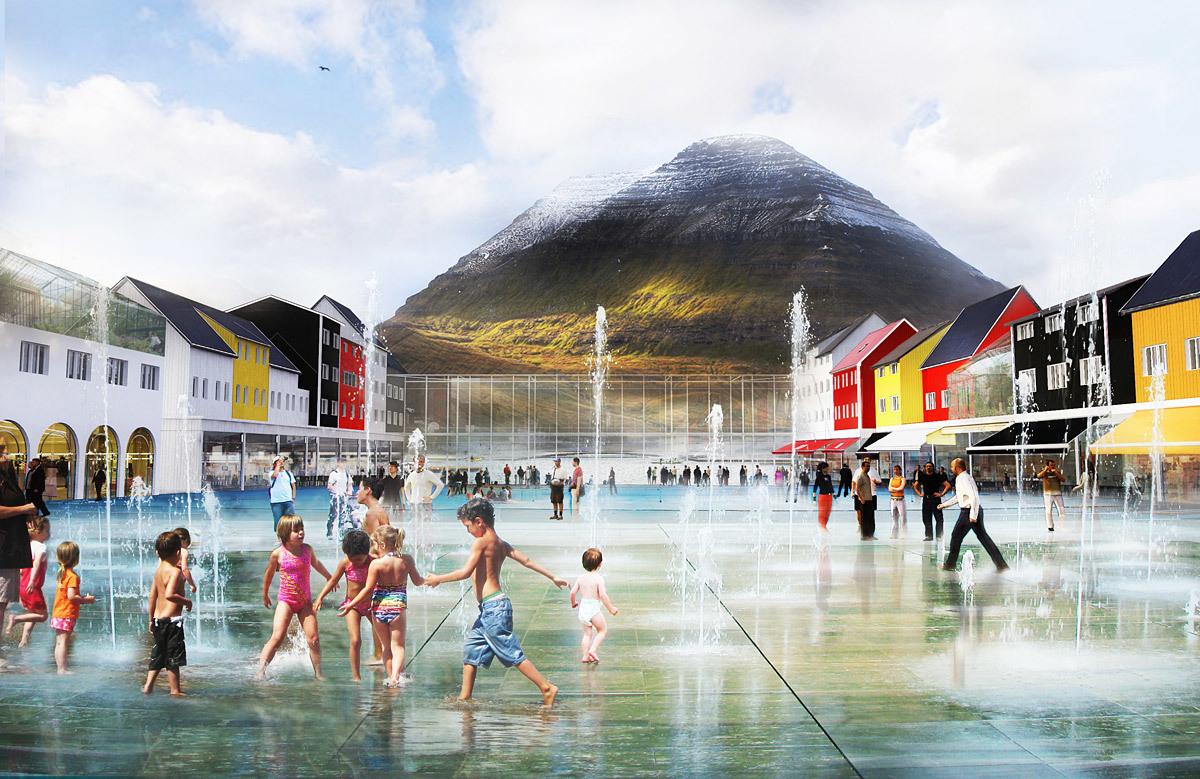 Klaksvík City Center Square: summer view (Image: Kubota & Bachmann Architects)