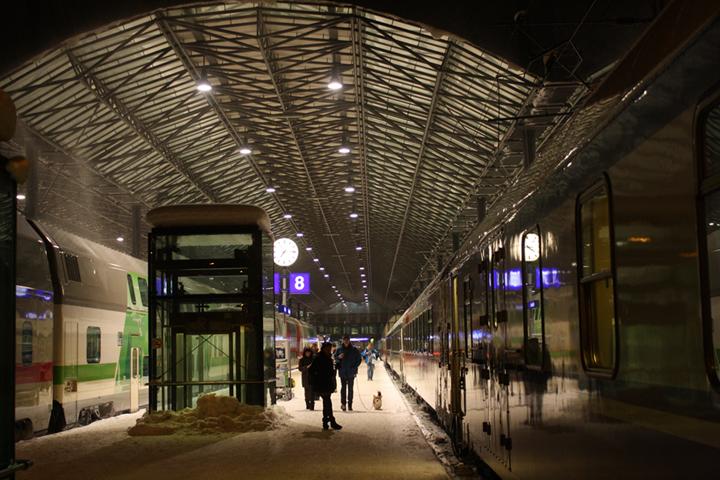 Central Railway Terminal, Helsinki. Blast off to Rovaniemi!