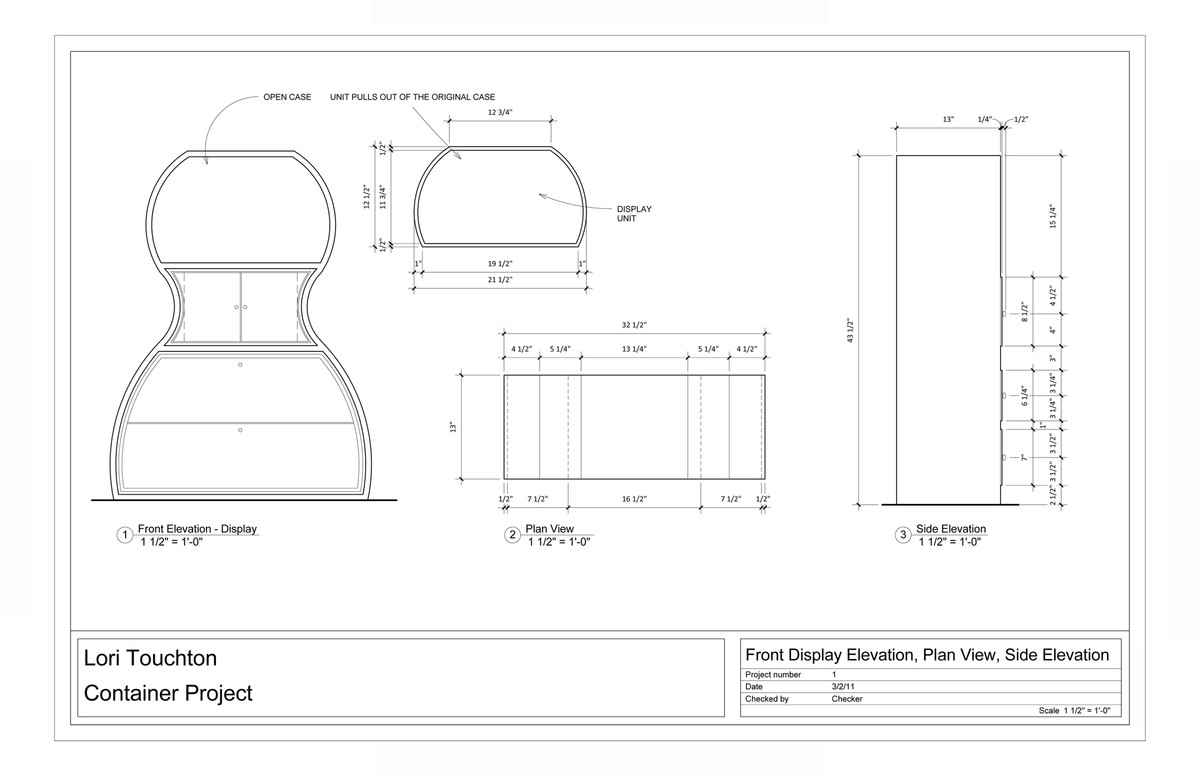 Elevation Plan And Side Views : Furniture design container project lori touchton