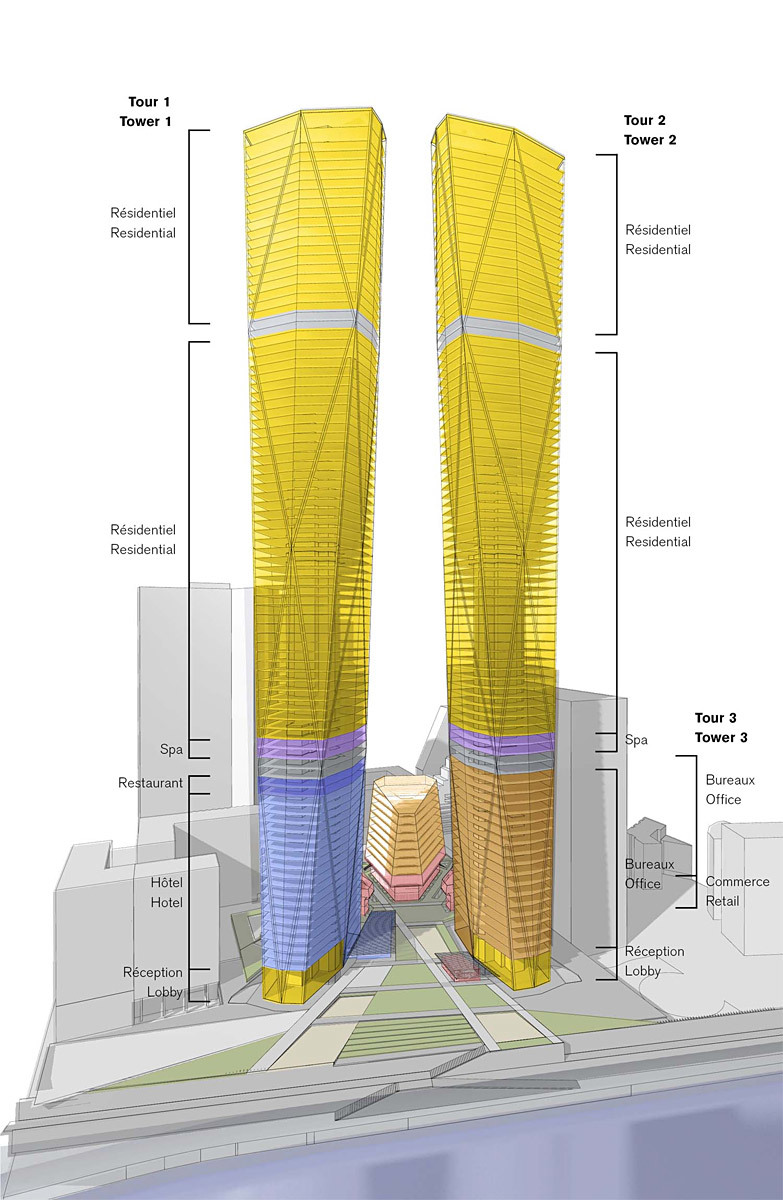 Program diagram of the two mixed-use towers (Image: Foster + Partners)