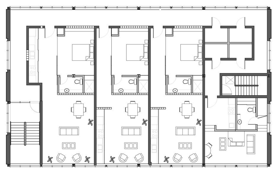 Alternate plan showcasing New York loft style units