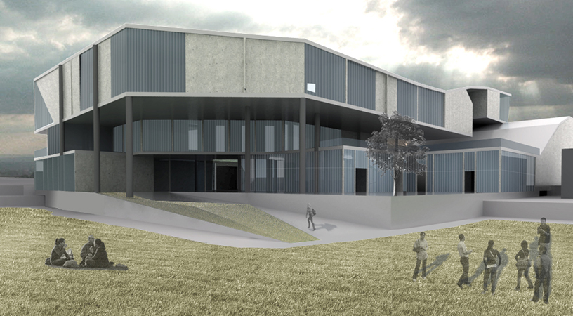 rendering from the recreational center side