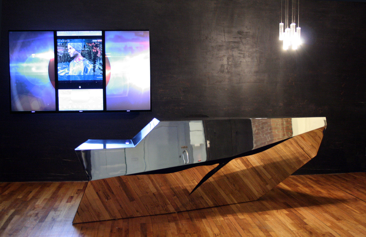 Sony music reception desk pryor callaway archinect for Tattoo shops hiring front desk