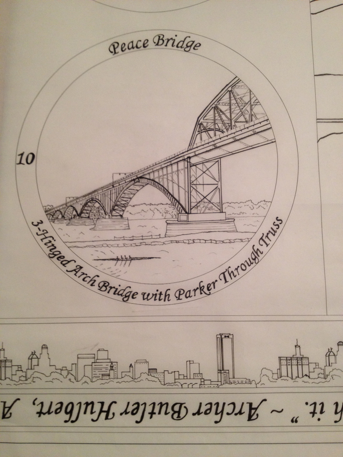 Ink drawing of the Peace Bridge