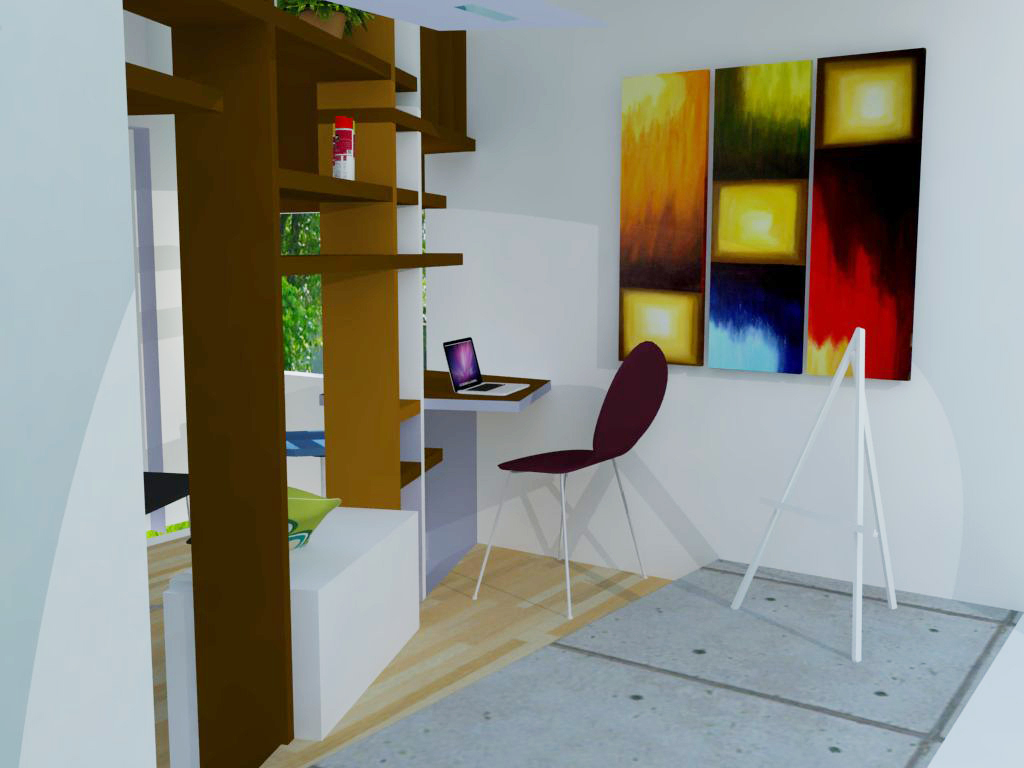 interior rendering of gallery and studio space
